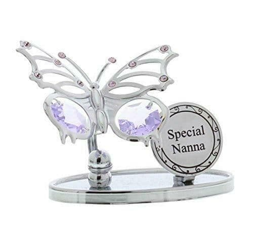 CrystoCraft Special Nanna Chrome Plated Butterfly with Swarovski Crystals